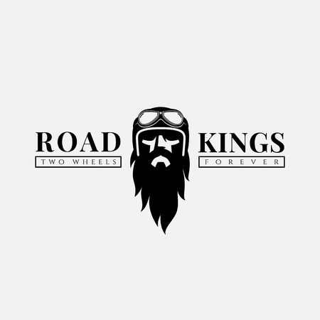 Design template with bearded man in a helmet and goggles for logo, label, t-shirt print, poster, emblem. Vector illustration. Иллюстрация