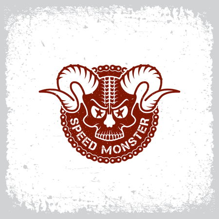 tread: Vintage label with horned skull and chain on grunge background for t-shirt print, poster, emblem. Vector illustration.