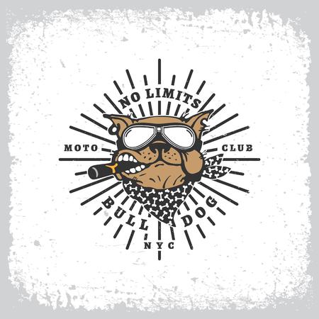 Vintage-Label mit Bulldogge in Schutzbrillen und Strahlen auf Grunge Hintergrund für T-Shirt drucken, Poster, Emblem. Vektor-Illustration.