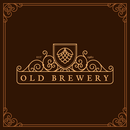Flourishes frame ornament template with hop for logos, labels, emblems for beer house, bar, pub, brewing company, brewery, tavern. Vector illustration. Illustration