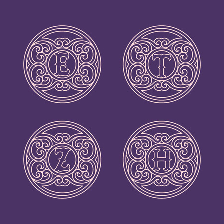 Set of flourishes round elegant ornamental monograms with letters E, H, T, Z in trendy linear style. Vector illustration.