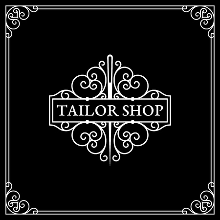 Flourishes luxury elegant ornament logo template for tailor shop, fashion studio in trendy linear style. Vector illustration.