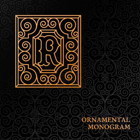 Flourishes luxury elegant ornamental monogram template with letter R in trendy linear style.