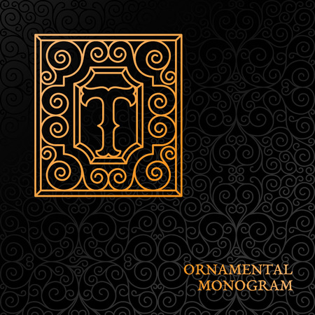 Flourishes luxury elegant ornamental monogram template with letter T in trendy linear style.