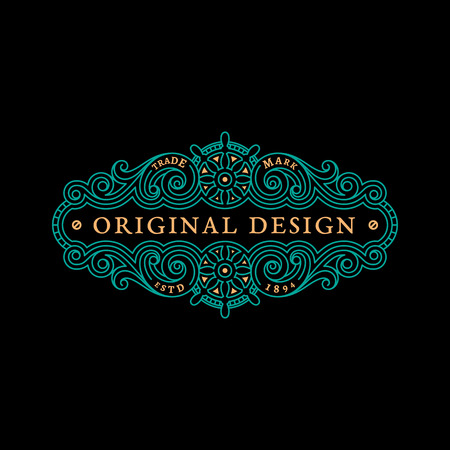 Flourishes luxury elegant ornament label template with two steering wheels in trendy linear style. Vector illustration.