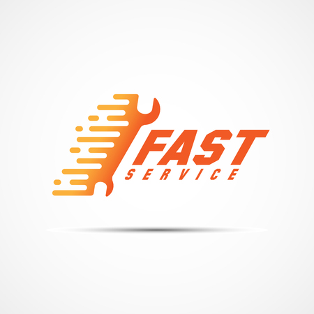 Fast service logo template design with spanner. Vector illustration.