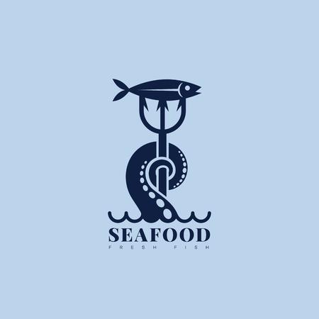Progettazione di modello di logo di pesce di mare nautico con tentacolo, tridente e pesce. Illustrazione vettoriale