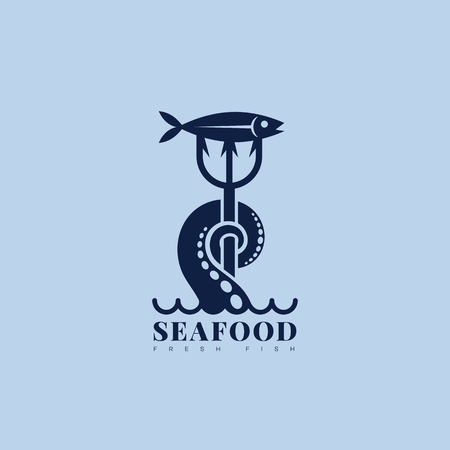 Nautical sea food logo template design with tentacle, trident and fish. Vector illustration.