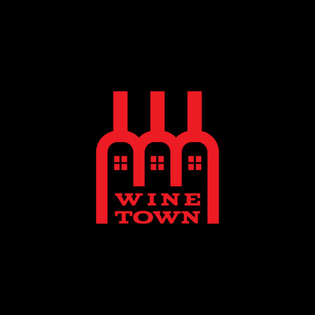 house logo: Wine town logo template design with three bottles. Vector illustration.