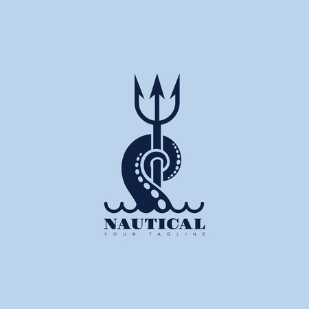 Nautical logo template design with tentacle and trident. Vector illustration.