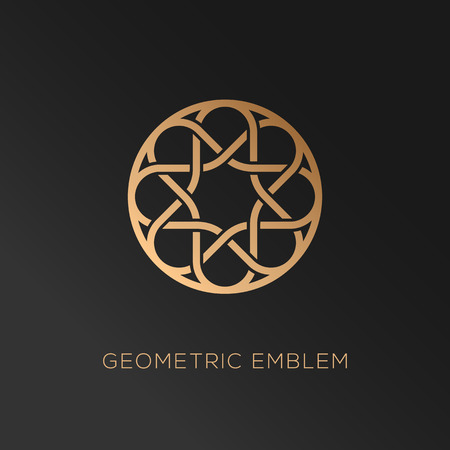Round abstract geometric logo template design in trendy linear style. Vector illustration.