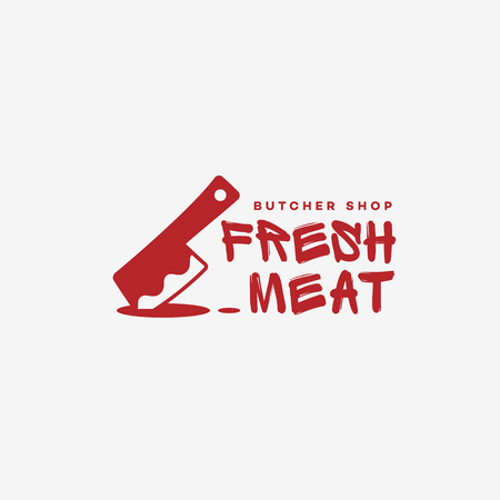 Butcher shop logo template design. Vector illustration. Illustration