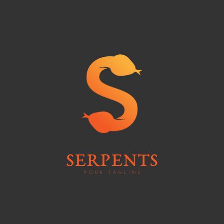 Serpents logo template design. Vector illustration.