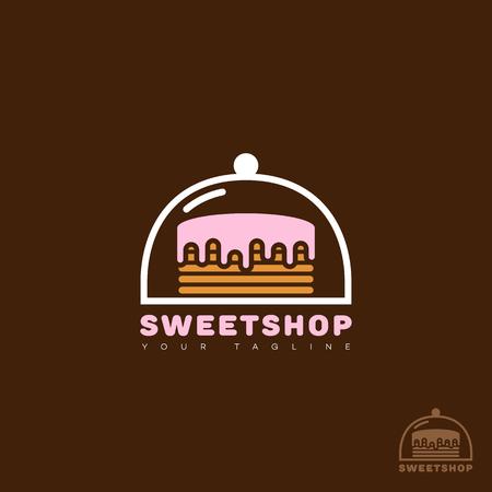 Sweet shop logo template design. Vector illustration.