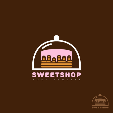 Sweet shop logo template design. Vector illustration.