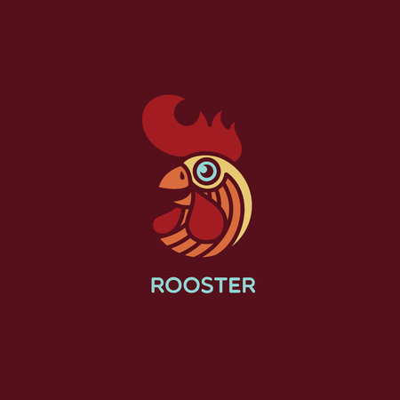 Colored rooster logo template design. Vector illustration.