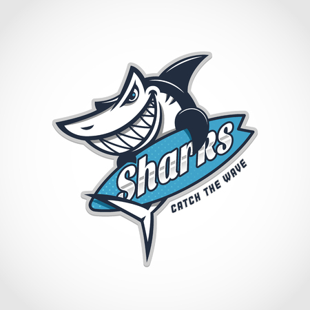 Angry shark mascot with surfboard.