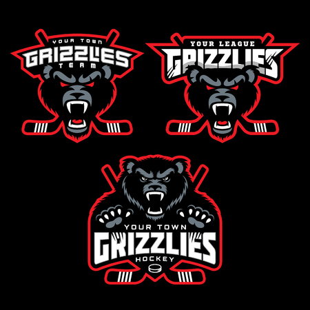Grizzly mascots for hockey teams, vector illustration.