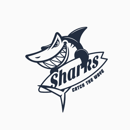 Mascota de tiburón con tabla de surf, ilustración vectorial.