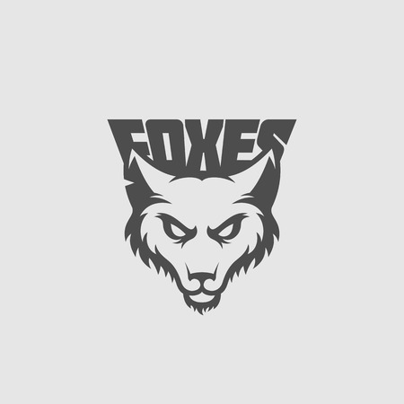 Fox mascot for a sport team with a title on a gray background. Vector illustration. Illustration