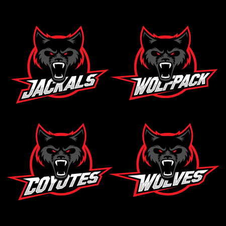 Wolf, jackal and coyote mascots for a sport team. Vector illustration. Фото со стока - 90680421