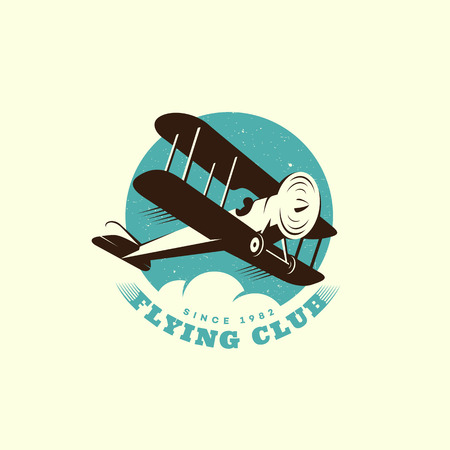 Flying club logo concept ontwerpsjabloon