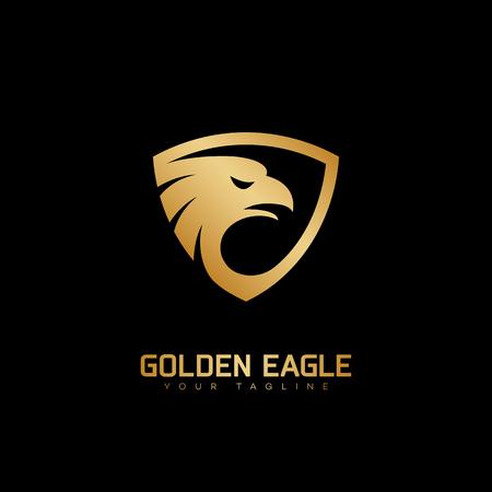 Golden eagle head icon template design. Vector illustration. Ilustrace