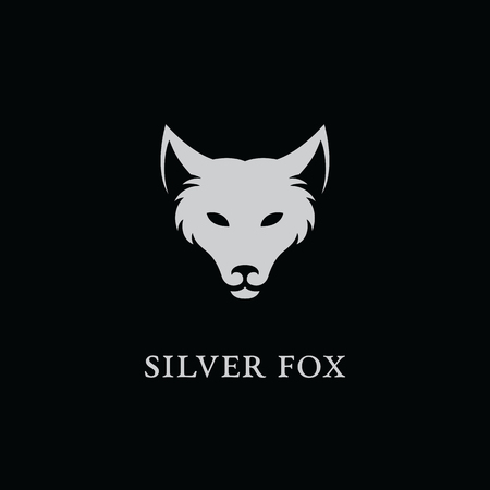 Silver fox logo template design. Vector illustration. Illustration