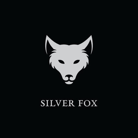 Zilveren vos logo sjabloonontwerp. Vector illustratie
