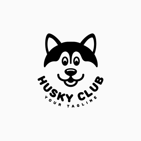 Husky club logo template design. Vector illustration.
