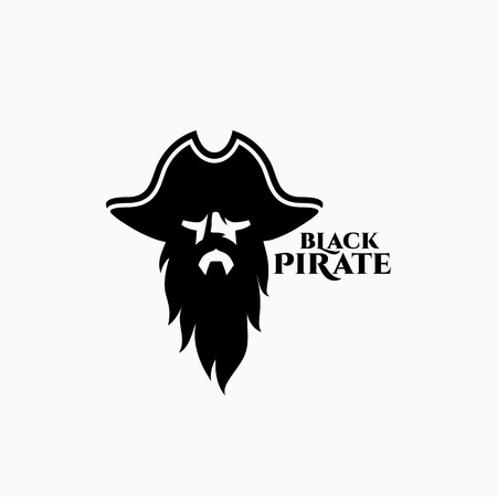Black pirate logo template design. Vector illustration. Vettoriali