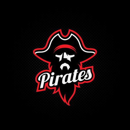 Pirate mascot for a sport team on a dark background. Vector illustration. Vettoriali
