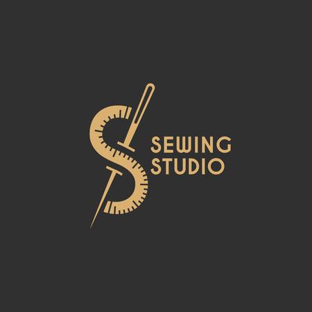 Sewing studio logo template design. Vector illustration.