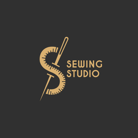 Sewing studio logo template design. Vector illustration.