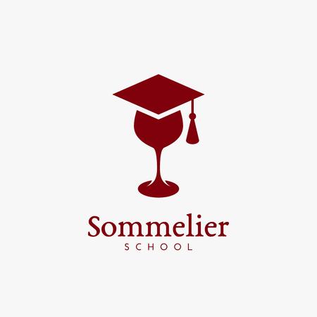 Sommelier school logo template design. Vector illustration. Ilustração