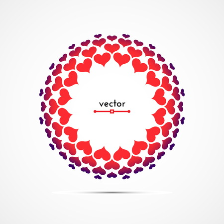 Round frame of hearts in five rows. Vector illustration.