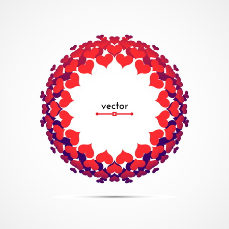 Round frame of red and blue hearts. Vector illustration. Illustration