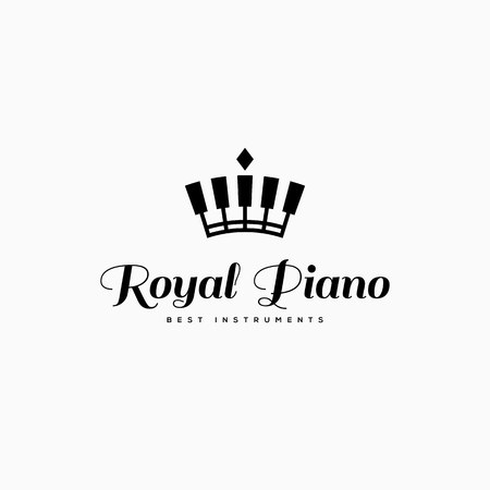 Royal piano logo template design. Vector illustration.