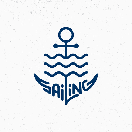 Sailing logo template design with a stylize anchor. Vector illustration. Çizim