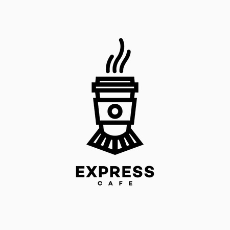Express cafe logo template design on a white background. Vector illustration. Vettoriali