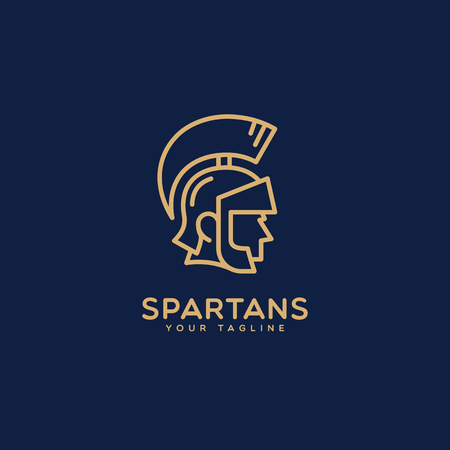 Spartans logo template design in outline style. Vector illustration.