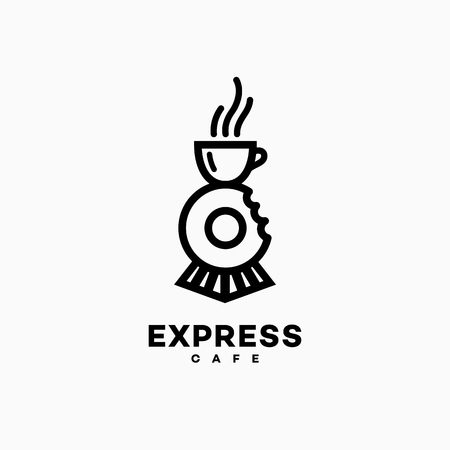 Express cafe logo template design with a cup and a donut. Vector illustration. Illustration
