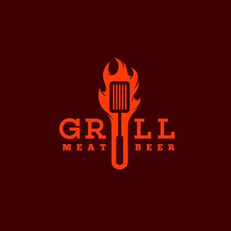 Grill logo template design with flame. Vector illustration.  イラスト・ベクター素材