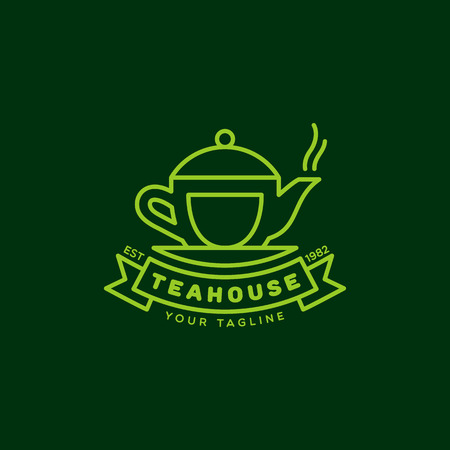 Teahouse logo template design in outline style. Vector illustration.