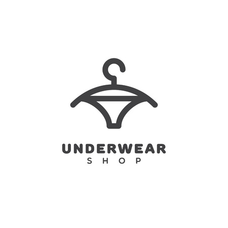 Underwear shop logo template design with a hanger. Vector illustration.