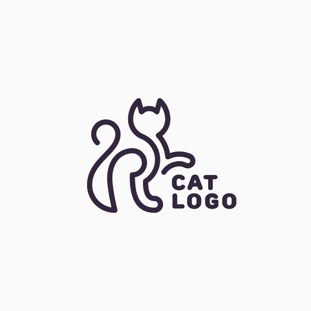 Abstract linear style of Cat template design for logotype Vector illustration.