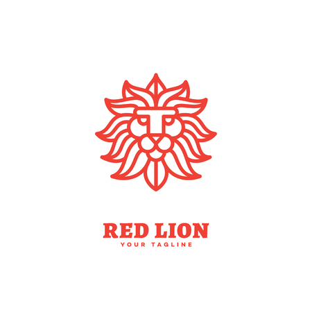 Red lion logo template design in outline style. Vector illustration. 矢量图像