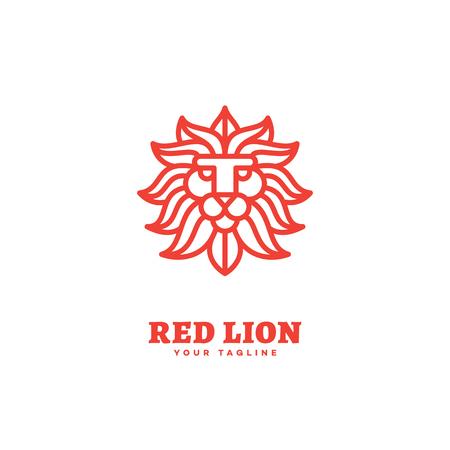 Red lion logo template design in outline style. Vector illustration. Illustration
