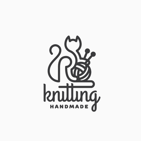Knitting logo template design with a cat. Vector illustration.