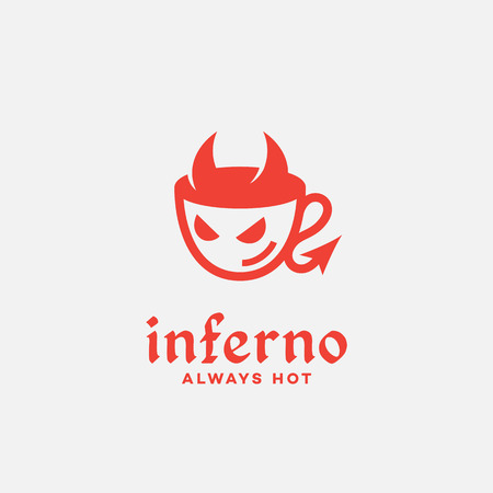 Inferno cafe logo template design with a diabolic cup. Vector illustration.